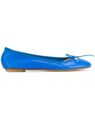 Синие кожаные балетки Anna Baiguera