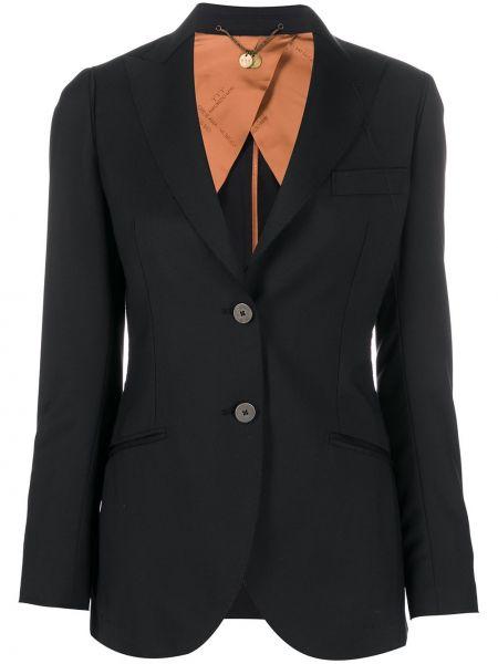 Приталенная черная куртка на пуговицах с лацканами Maurizio Miri