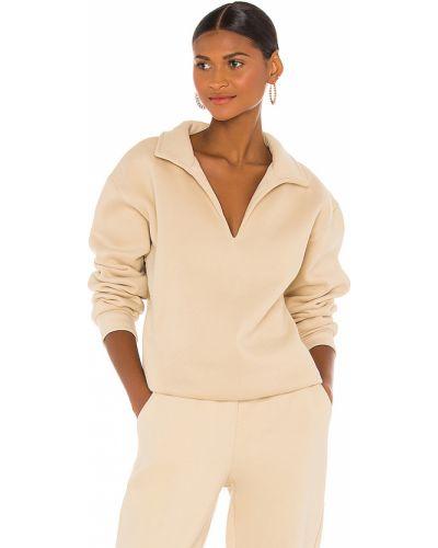 Beżowy bawełna włókienniczy bluza z dekoltem Atoir