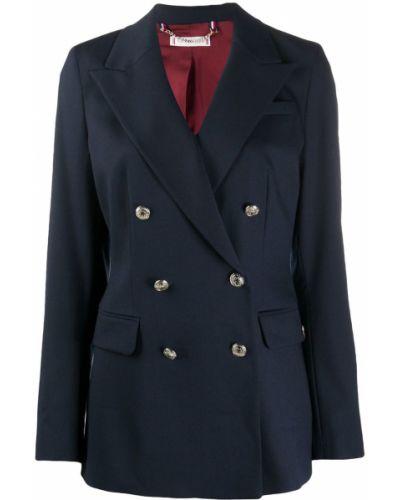 Шерстяной синий классический пиджак двубортный Tommy Hilfiger