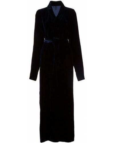 Синее длинное пальто с капюшоном Unravel Project