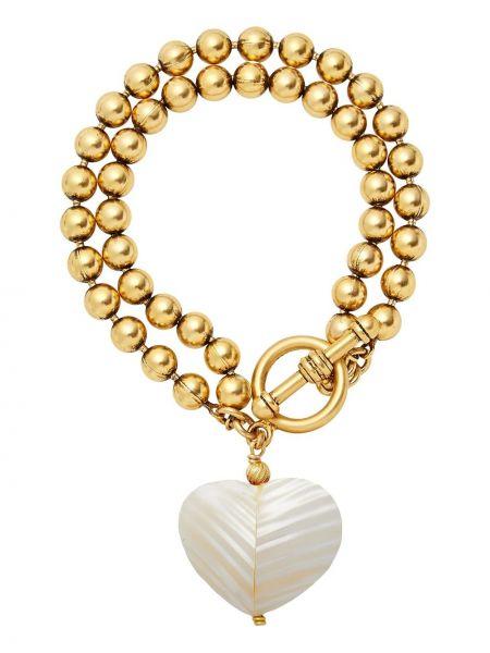Złota bransoletka ze złota pozłacana perły Brinker & Eliza
