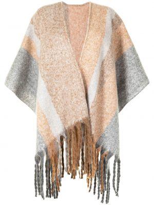 Biały ponczo z frędzlami krótki rękaw Unreal Fur