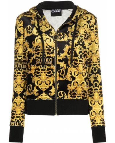 Черная толстовка с капюшоном с длинными рукавами Versace Jeans Couture