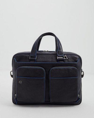 Синяя кожаная сумка Piquadro