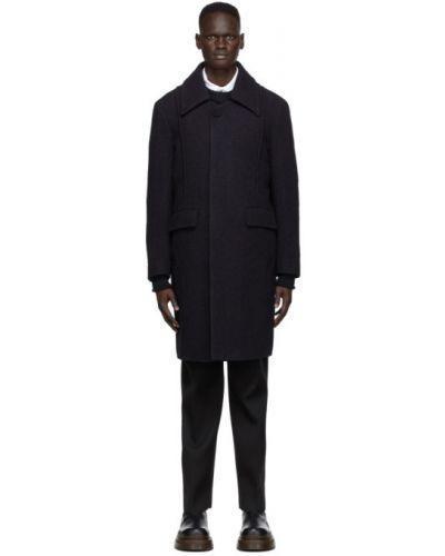 Фиолетовое шерстяное длинное пальто с воротником с подкладкой Namacheko