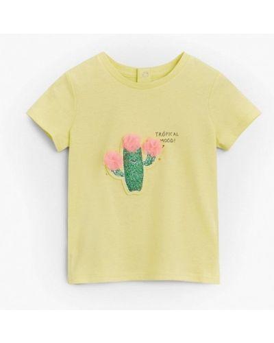 Желтая футболка с короткими рукавами Mango Kids
