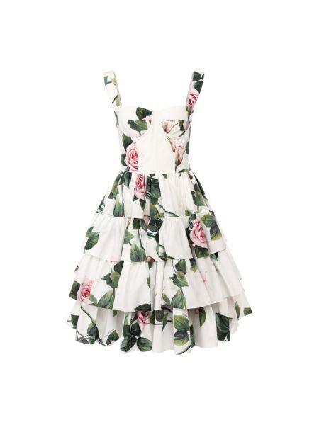 Платье макси каскадное из поплина Dolce & Gabbana