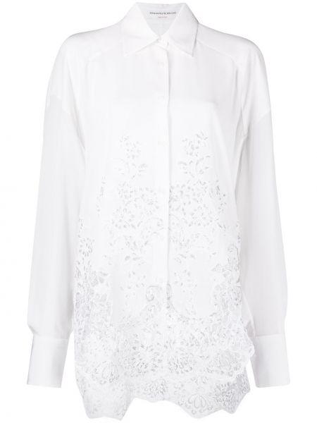 Белая ажурная пуховая классическая рубашка с воротником Ermanno Scervino