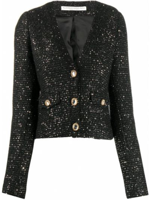 Шерстяной черный удлиненный пиджак с пайетками Alessandra Rich
