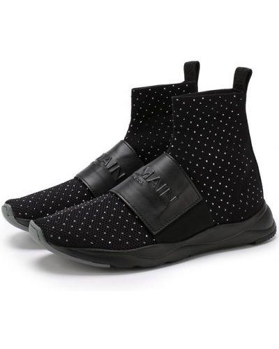 Кожаные кроссовки с логотипом текстильные Balmain