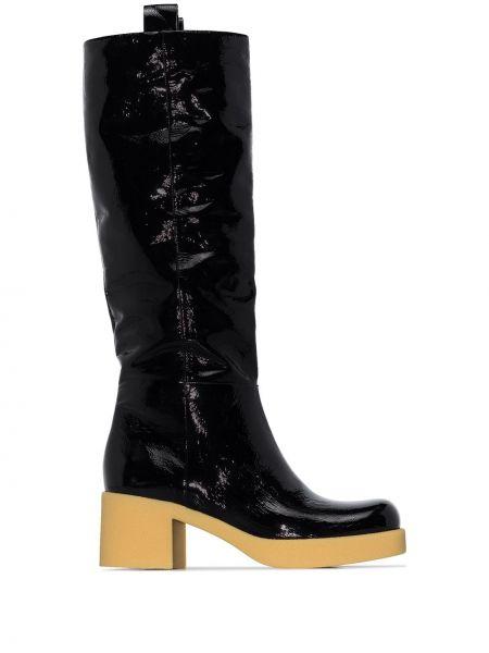 Skórzany czarny buty na wysokości w połowie kolana okrągły Miu Miu