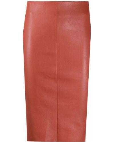 Красная с завышенной талией юбка миди на молнии с разрезом Drome