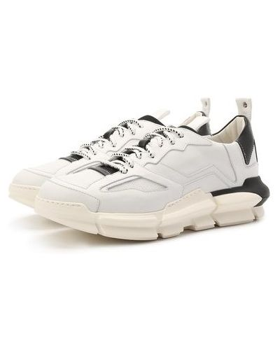 Комбинированные кожаные белые кроссовки Attimonelli's
