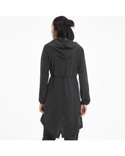 Спортивная черная куртка с капюшоном эластичная на шнурках Puma