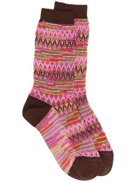 Вязаные шерстяные розовые носки с вышивкой Missoni