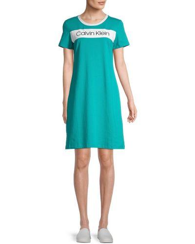 Хлопковое купальное платье с короткими рукавами стрейч Calvin Klein
