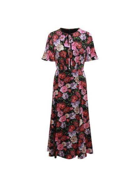Расклешенное приталенное шелковое платье мини с короткими рукавами Escada