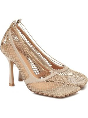 Туфли-лодочки кожаные бежевый Bottega Veneta