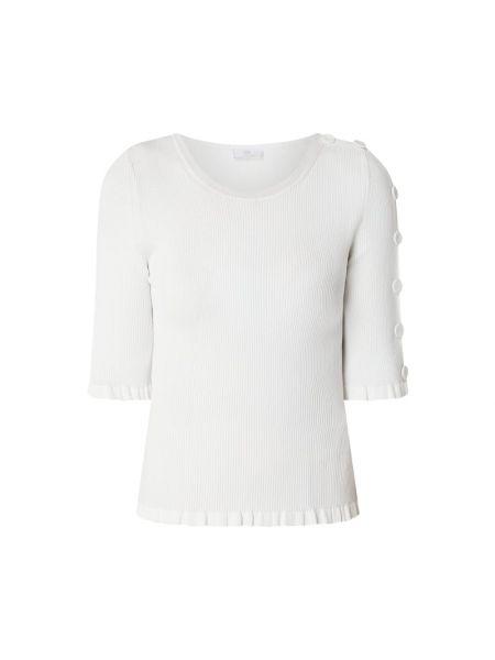 Biały sweter z falbanami z wiskozy Riani