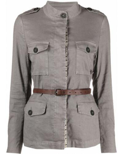 Хлопковая серая рубашка с длинными рукавами Bazar Deluxe