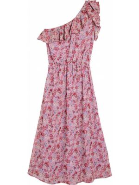Платье миди с цветочным принтом с поясом La Redoute