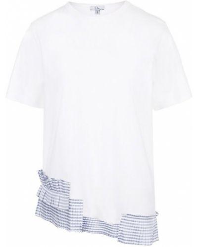 Свободная футболка в полоску с оборками Clu