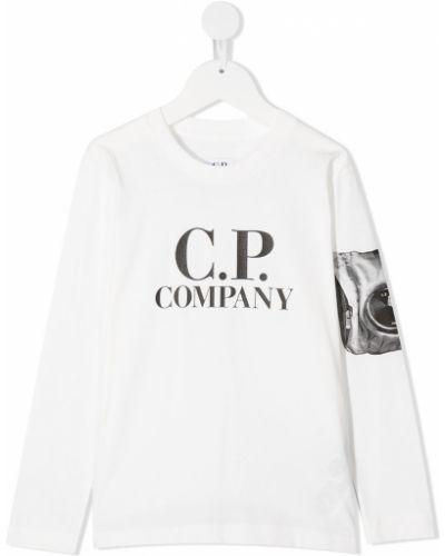 Прямой белый топ с круглым вырезом круглый Cp Company Kids