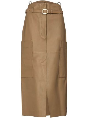 Бежевая кожаная юбка карандаш с поясом Petar Petrov