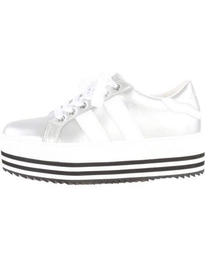 Szare sneakersy na koturnie srebrne Byblos