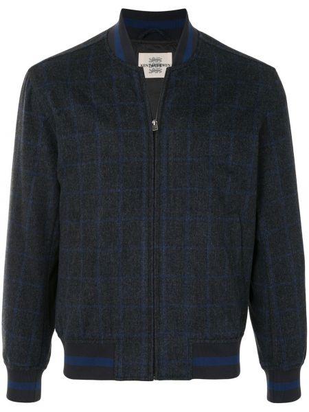 Niebieska długa kurtka wełniana z długimi rękawami Kent & Curwen