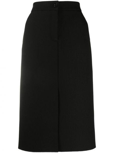 Черная прямая с завышенной талией юбка миди с разрезом Msgm