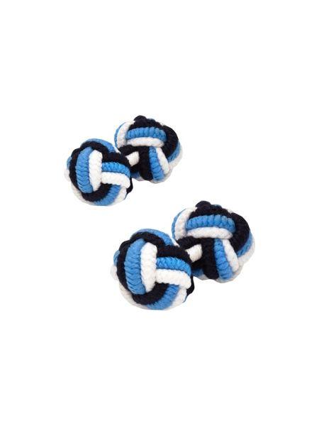 Niebieskie spinki do mankietów materiałowe Lindenmann