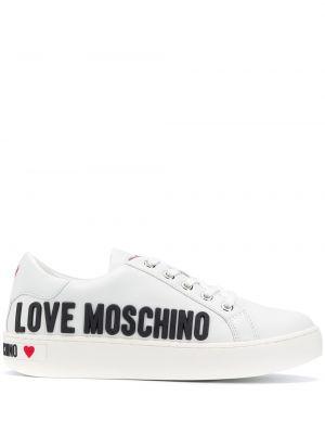 T-shirt z nadrukiem z printem - białe Love Moschino