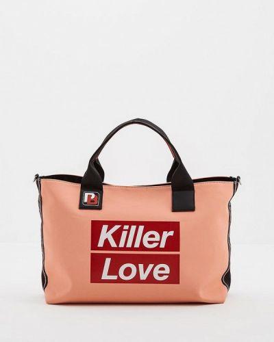 Розовая сумка шоппер Pinko