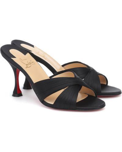 Satynowe czarne sandały eleganckie Christian Louboutin