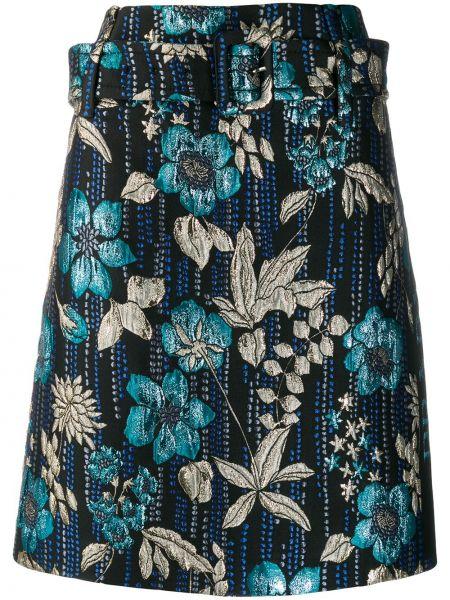 Шелковая ажурная синяя юбка макси Prada