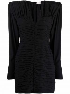 Шелковое черное платье макси с оборками Magda Butrym