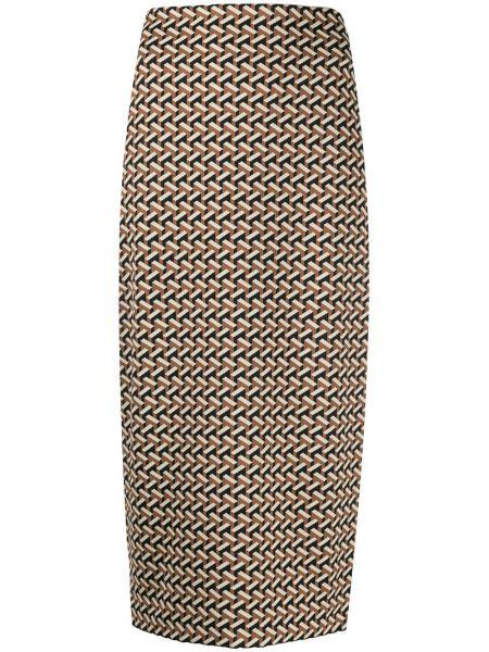 Коричневая с завышенной талией юбка миди на молнии со шлицей Dvf Diane Von Furstenberg