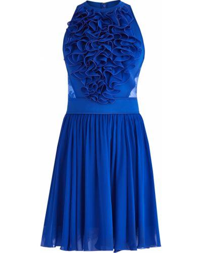Платье мини с цветочным принтом со вставками Elie Saab