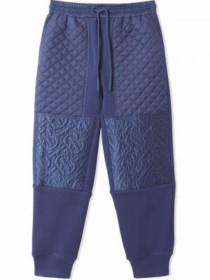 Niebieskie spodnie bawełniane Burberry Kids
