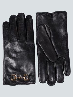 Czarne rękawiczki skorzane Gucci