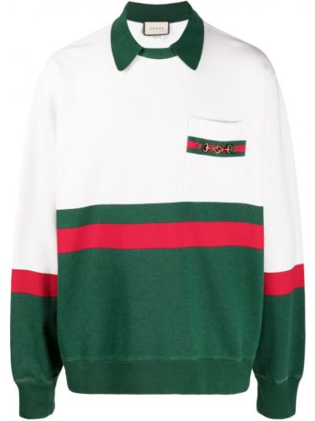 Skórzany biały bluza z paskami z kołnierzem Gucci