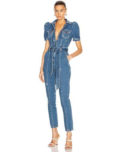 Niebieski kombinezon jeansowy koronkowy bawełniany Retrofete