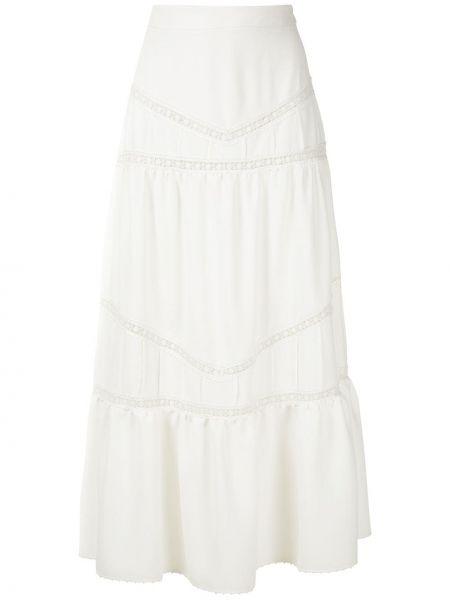 Белая расклешенная юбка миди на молнии в рубчик Martha Medeiros