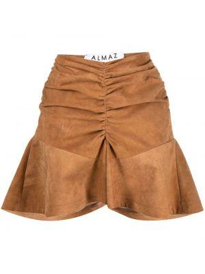 Коричневые с завышенной талией шорты с оборками Almaz