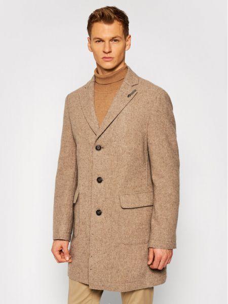 Płaszcz wełniany - beżowy Baldessarini