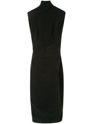Кожаное облегающее платье с открытой спиной с воротником без рукавов Versace Pre-owned