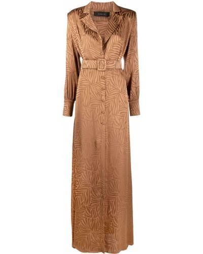 Коричневое с рукавами платье макси с поясом Federica Tosi