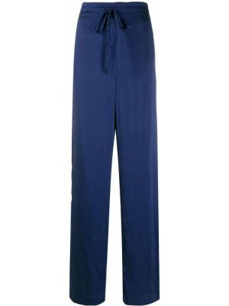 Шелковые прямые фиолетовые брюки с воротником Beau Souci